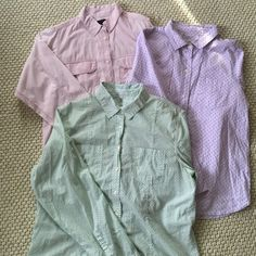 Lot of Button Down Shirts 2 J. Crew 1 Gap Light Gap green patterned shirt size L. Purple light J. Crew shirt size 8. And beautiful heavier J. Crew shirt in lilac with baby dots. (Price for lot) J. Crew Tops Button Down Shirts