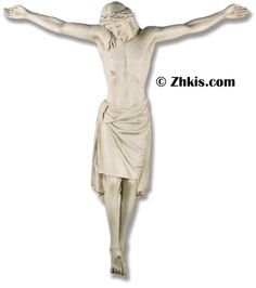 This life-size crucified Christ statue is designed for public display. A cross is also available for this statue. The statue is made of durable fiberglass and designed for outdoor use in year-round weather. Several finish options are also available. The piece can come with optional mounting hardware.