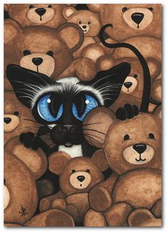 Modern cat cross stitch kit by AmyLyn Bihrle Siamese by GeckoRouge Illustration Photo, Illustrations, Teddy Bear Hug, Teddy Bears, Image Chat, Cat Wedding, Gatos Cats, Bear Art, Siamese Cats