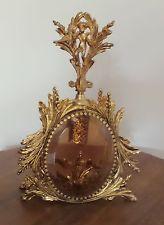 VINTAGE ORMOLU DECORATIVE BEVELED GLASS CUPID PERFUME BOTTLE NICE DAUBER