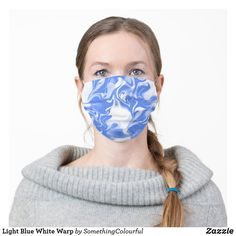 Light Blue White Warp Cloth Face Mask Cool Masks, Funky Design, Household Items, Great Artists, Sensitive Skin, Cool Designs, Cool Style, Light Blue, Blue And White