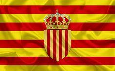 Descargar fondos de pantalla Escudo de armas de Cataluña, Europa, la bandera de Cataluña, España, Cataluña