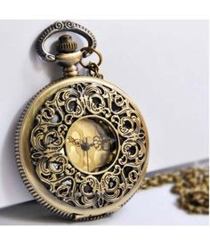 Vintage Openwork Engraved Flower Pocket Watch Pendant Sweater Chain $25 RockABillyGirlZ.com