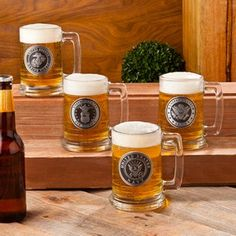 These Personalized Glass Military Emblem Beer Mugs hold 14 oz. and are personalized with an engraved pewter medallion. Available in Force emblems.