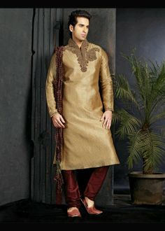 Golden Wedding Sherwani With Chudidar . Shop at - www.gravity-fashion.com/15780-golden-wedding-sherwani-with-chudidar.html