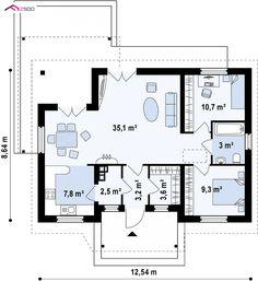 Z136 - to wyjątkowy dom z kategorii projekty domów z trzema pokojami Little House Plans, Pool House Plans, Small House Plans, Cottage Plan, Granny Flat, Facade House, Big Houses, Sweet Home, House Design