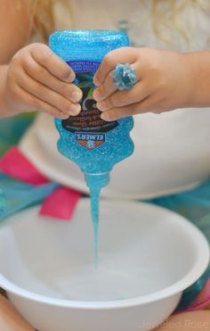 FROZEN SLIME- What could be more fun than super sparkly, ultra oozy, and delightfully ICY Frozen themed slime? For my two Frozen movie fanatics not much! {A Must try activity for Frozen lovers}