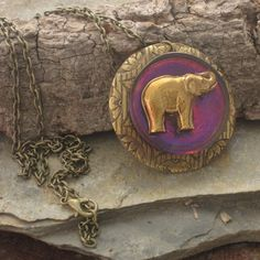 Ethnic Elephant Pendant Necklace Pink Purple Antiqued Brass Stamping Etched Gold Design, Hand Painted Lucky Elephant, Safari Jungle Gift