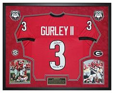Todd Gurley Autographed Georgia Bulldogs Jersey Deluxe Shadow Box Frame - Total Yards Inscription! Great for any Man Cave, Home, Office, Sports Bar or DAWGS House!  #ManCaveDecor #SportsBarDecor #GeorgiaHandmade #BulldogsDecor #GeorgiaWallHanging #GoDAWGS #LARAMSFootball #FramedJersey #JerseyFraming Sports Addiction will Frame your jersey!