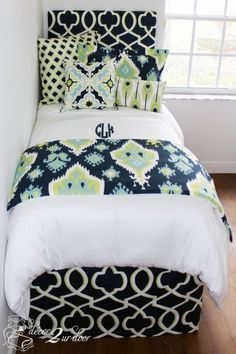 Lime green, navy and teal designer bedding set. Perfect for dorm, teen, sorority, apartment and home. Designer headboard, custom pillows, exclusive bed scarf, window panels, wall art, bed skirts, duvet (twin, queen, king) and custom monogramming!! Turn your room from drab to fab!! http://www.decor-2-ur-door.com/designer-dorm-bed-in-a-bag-sets/green-custom-bedding-sets-teen-girl-dorm-room-apartment-home-bed-in-a-bag/canal-neon-lime-navy-teen-girl-dorm-room-bedding-set?&utm_content=buffer3a33e&ut…