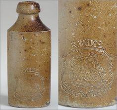 Victorian stoneware ginger beer bottle: R. White, London
