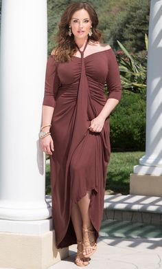 bbc37926bce Check out the deal on Divine Draped Maxi Dress at Kiyonna Clothing Curvy  Fashion