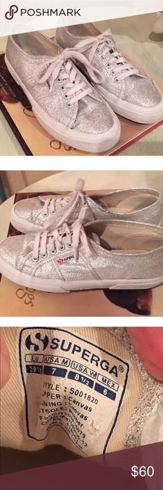 Superga Silver Glitter Lace-up Tennis shoes  8.5 This listing is for an adorable pair of Superga Silver Glitter Lace-up Tennis Shoes in a Women's European size 39.5/US 8.5M.   They have a Cotton lining and the Outsole is 100% natural rubber.   Excellent condition.   Ready to wear! Superga Shoes Sneakers