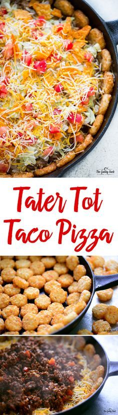 Tater Tot Taco Pizza is a mouthwatering combo of two of your favorite eats: tacos and pizza! The tater tot crust makes this dinner recipe even more fun. This would be a great recipe to serve at a party, potluck or on game day! You can customize it with yo Mexican Dishes, Mexican Food Recipes, Beef Recipes, Cooking Recipes, Recipies, Quesadillas, Enchiladas, Taco Pizza, Taco Food
