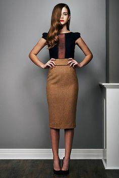 Businessmode Kleider und Röcke - Bleistiftsrock in Braun