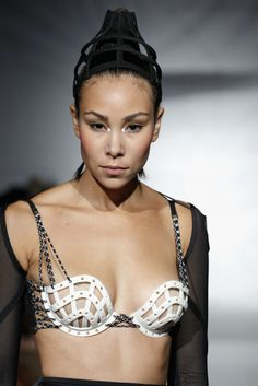 Chromat S/S 2015: Empowered Fashion of the Future - 3D printed bra cups with cording details.