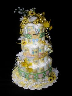 baby girl shower diaper cakes | Clearance - Yellow Boy or Girl Daisy Diaper Cake for Baby Shower Gift.