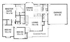Ranch Style House Plan - 3 Beds 2.5 Baths 1586 Sq/Ft Plan #58-167 Floor Plan - Main Floor Plan - Houseplans.com