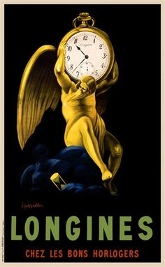 Longines Cappiello 1911 France - Beautiful Vintage Posters Reproductions. This vertical french poster advertising clock maker shows a yellow man (father time) with wings holding a pocket watch on his shoulders. Giclee advertising print. Classic Posters