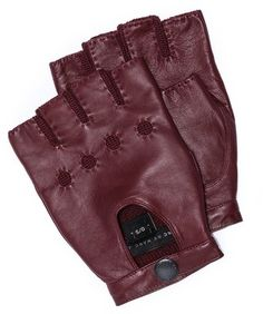 $98, Burgundy Leather Gloves: Marc by Marc Jacobs Leatherknit Fingerless Gloves. Sold by East Dane. Click for more info: https://lookastic.com/men/shop_items/21287/redirect