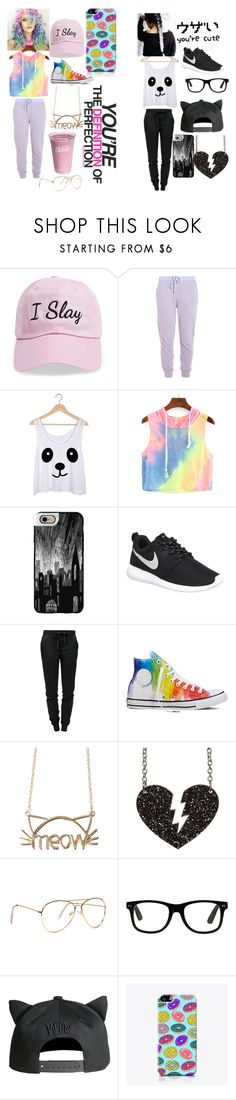 """Mitch match"" by scarter-ii on Polyvore featuring Steve Madden, Clu, Casetify, NIKE, T By Alexander Wang, Converse, H&M and The Small Print."