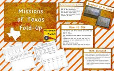 Missions of Texas Fold-Up with notes for interactive journal