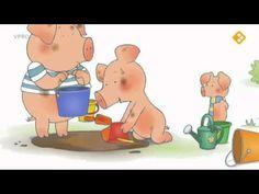 Digitaal prentenboek: Bibbeltje big - moddertaart Kindergarten Themes, K 1, School Themes, Primary School, Videos, Water, Animals, Activities, School