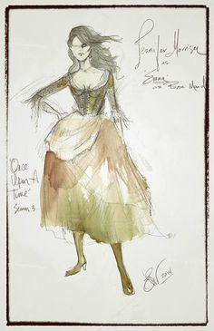 OUAT concept art for Emma's bar wench dress from the season three finale by Eduardo Castro.