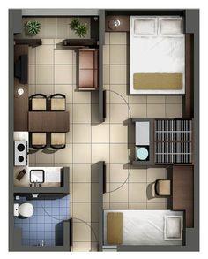 Muy pequeño 3 ambientes, pero con buena distribución y decoración. Little House Plans, My House Plans, Bedroom House Plans, Modern House Plans, Small House Plans, Tiny House Layout, Small House Design, House Layouts, Minimalist House Design