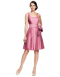 Dusky Rose Fit & Flare Satin Belted Prom Bridesmaid Dress ONLINE ONLY