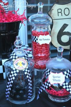 Cute candy buffet idea for car themed party