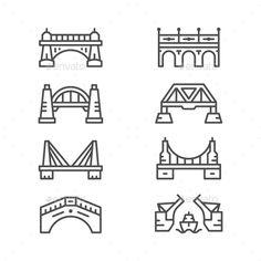 Set Line Icons of Bridges