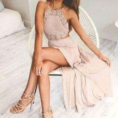 Nude lace maxi dress formal glam