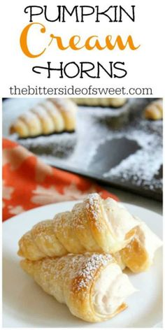 Pumpkin Cream Horns are a simple dessert that's perfect for the season! You'll love the light and fluffy filling full of delicious spices! | The Bitter Side of Sweet #pumpkin #puffpastry