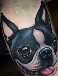 Boston Terrier tattoo by London Reese, www.theartoflondon.com