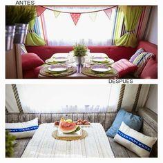 Antes y después de la caravana de Catarina. Aquí os dejamos una preciosa caravana con un estilo impecable y una decoración sorprendente  #ideasfacilisimo