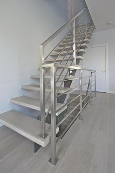 Custom stairs Chicago, Modern Staircase design Chicago, Custom Stair Design, Custom Furniture - HOME Iron and wire Steel Stairs Design, Staircase Design Modern, Staircase Railing Design, Balcony Railing Design, Home Stairs Design, Interior Stairs, Staircase Ideas, Stair Design, Wood Staircase
