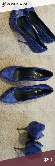 Blue and black Aldo heels Gently worn blue and black Aldo heels Aldo Shoes Heels