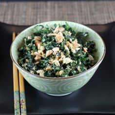 Start the New Year off right with this kale-tofu salad made even better with a peanut-y good sauce.