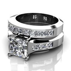 Princess Cut Diamond Wedding Set Dallas Engagement Wedding Rings TX