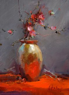 orange, pink, gray, and gold flower / floral arrangement still life painting...REFLECTIONS : Photo