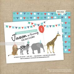 Safari Animals Birthday Invitations Set/ Animals Birthday Invitations/ Zoo Birthday Invitations | Printable or Printed