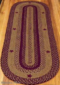 Star Wine Rugs Braided Rectangle BR-195 / Like us on Facebook! www.facebook.com/allysonsplacedecor / #Primitive / #Country