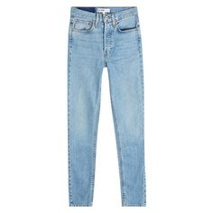 RE/DONE Skinny Jeans (€305) ❤ liked on Polyvore featuring jeans, denim, pants, re done jeans, blue jeans, bleached jeans, slim fit jeans and bleached denim jeans
