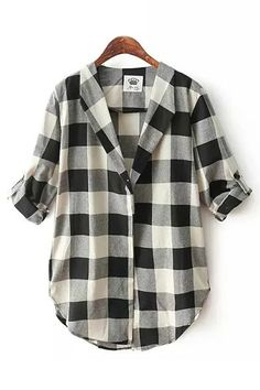 Black White Grids Lapel Long Sleeves Blouse, $26