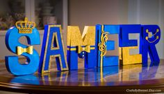 Royal Blue and Gold Letters Photo Prop Centerpiece 8 Prince Birthday Party, Baby Boy 1st Birthday, Prince Party, Name Decorations, Baby Shower Decorations, Baby Shower Themes, Baby Boy Shower, Royal Baby Shower Theme, Wooden Letters