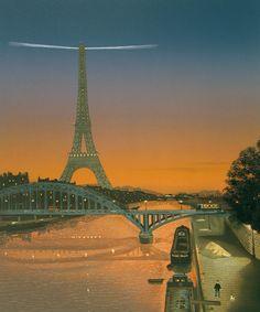 """Michel Delacroix, Tour Eiffel au ciel rouge, lithograph paper, 31"""" x 26"""" #art #paris #eiffeltower #toureiffel #art #print #lithograph #france #eiffel #night #sunset"""