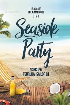 Beach Seaside Party Flyer Template - http://ffflyer.com/beach-seaside-party-flyer-template/ Enjoy downloading the Beach Seaside Party Flyer Template created by DusskDesign    #Beach, #Club, #Dance, #Dj, #Edm, #Electro, #Event, #Hot, #Nightclub, #Party, #Seaside, #Summer