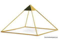"""9"""" Gold-Plated Copper Ascension Meditation Pyramid by Buddha Maitreya The Christ"""