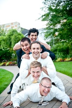 Funny groomsmen photo at Meijer Gardens. (Kate Morrow Photography)